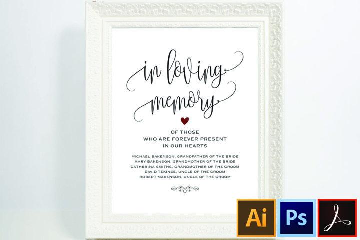 In loving memory Wedding Memorial Table Sign
