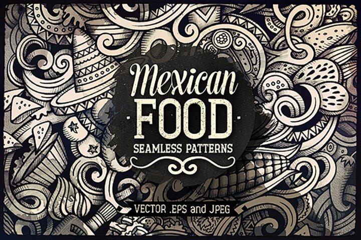 Mexican Cuisine Graphics Doodle Patterns