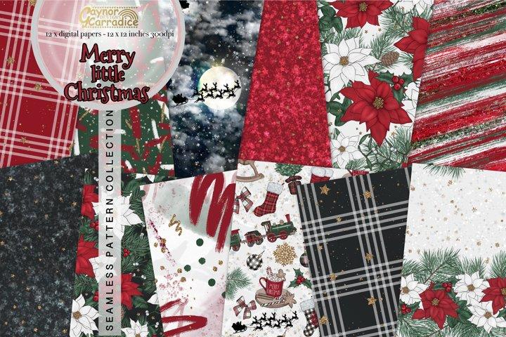 Merry Little Christmas seamless patterns