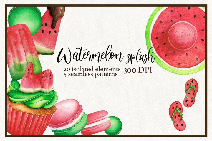 Watercolor desserts and partys stuff in watermelon style.