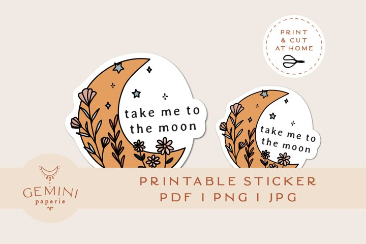 Printable Sticker | Floral Moon Sticker for Cricut