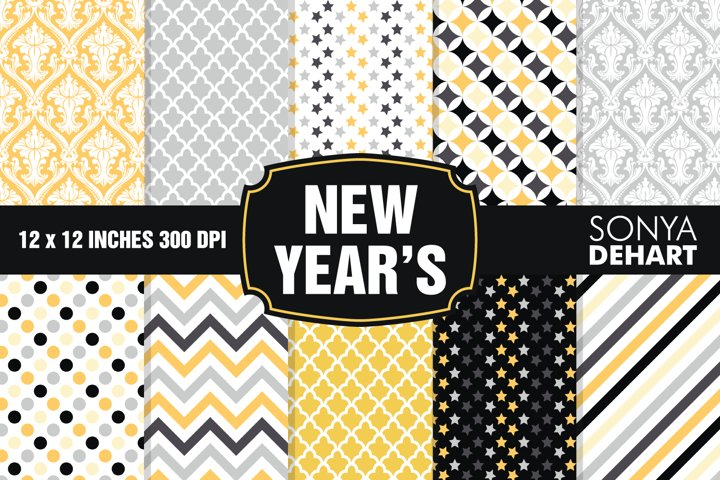New Years Eve Digital Paper Pattern Pack