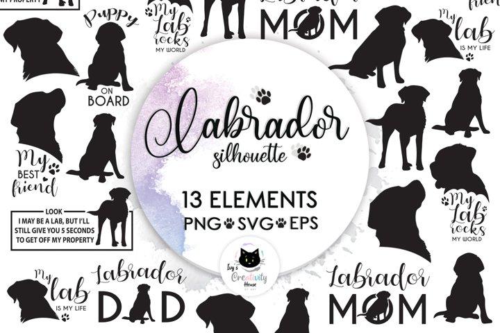 Black Labrador Retriever Dog Silhouette | Dog Mom SVG Files