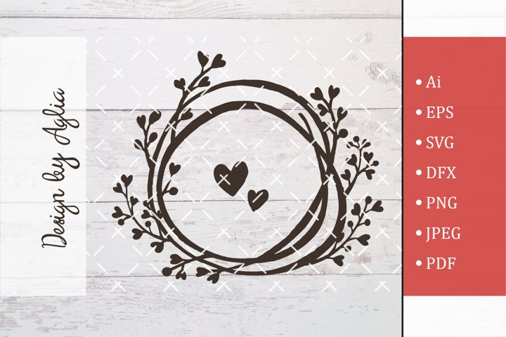 SVG circle and hearts, Cut file, Line art illustration