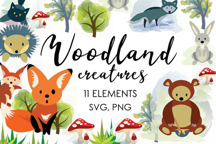 Woodland Animals Clipart, Forest Animals Svg, Animal Prints