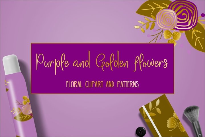 Purple and golden floral collection.