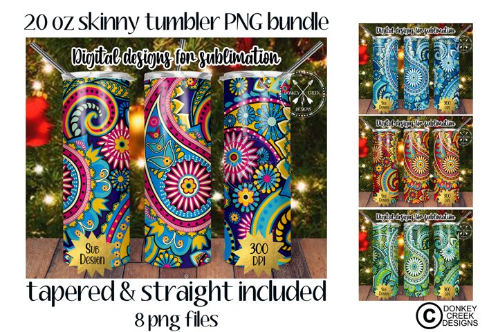 20 oz Skinny Tumbler PNG Bundle- Paisley Sublimation Design