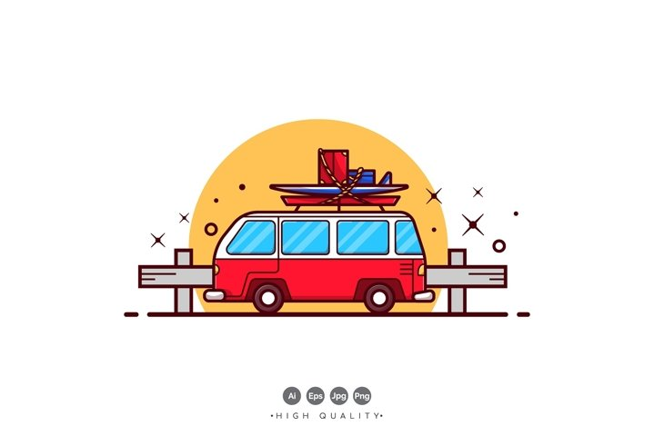 Traveling Holiday Van Vector