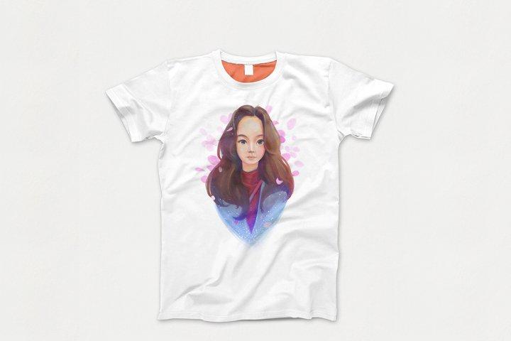 Illustration and design. T-shirt print. Asian girl