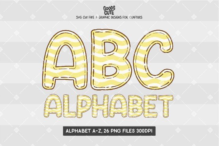 Yellow Pastel Wave Doodle Alphabet - Sublimation PNG
