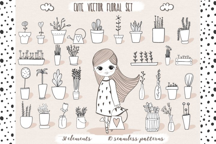 Cute vector pots and patterns example