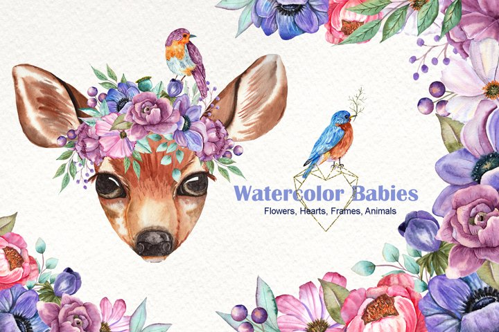 Watercolor Baby animals and Flowers