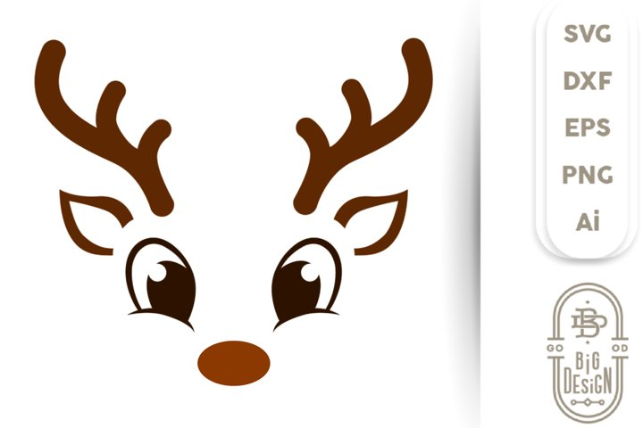 Christmas SVG - Cute Reindeer SVG , Boy Reindeer face SVG