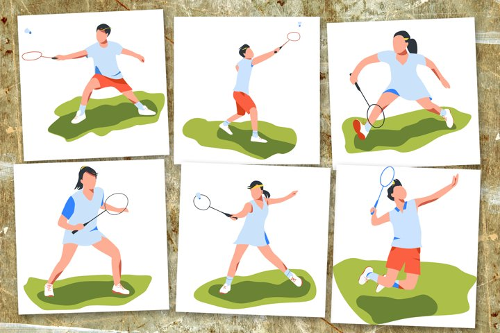Vector image of a badminton player.
