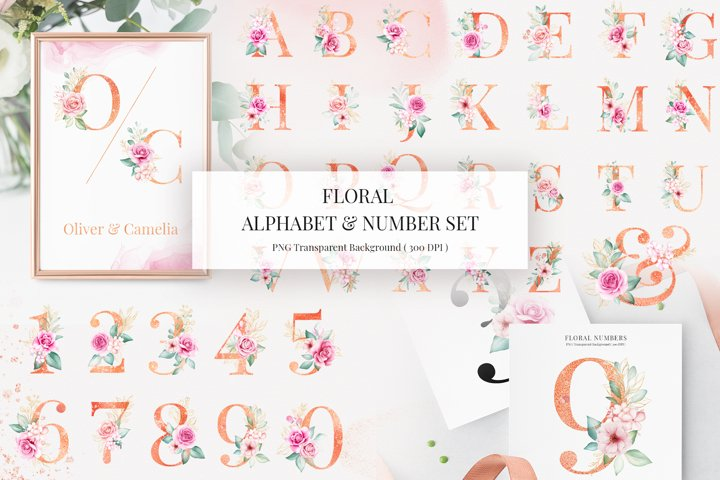 Floral Alphabet & Number Clipart Bundle