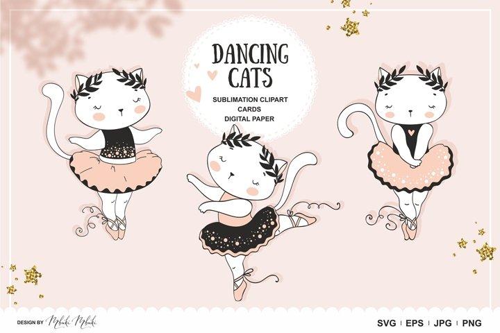 Cartoon Cats Ballerina sublimation clipart