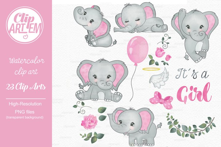 Pink Elephant watercolor 23 clip art bundle PNG, floral crow