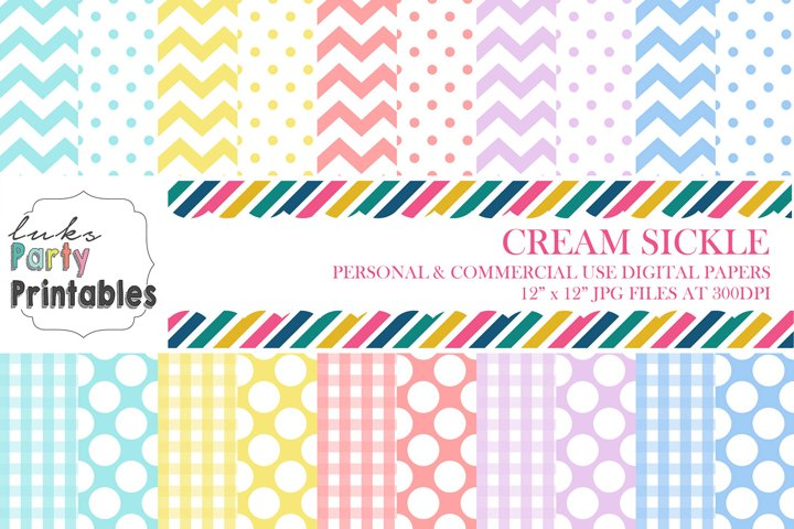 Cream Sickle Digital Paper Scrapbooking Paper Background