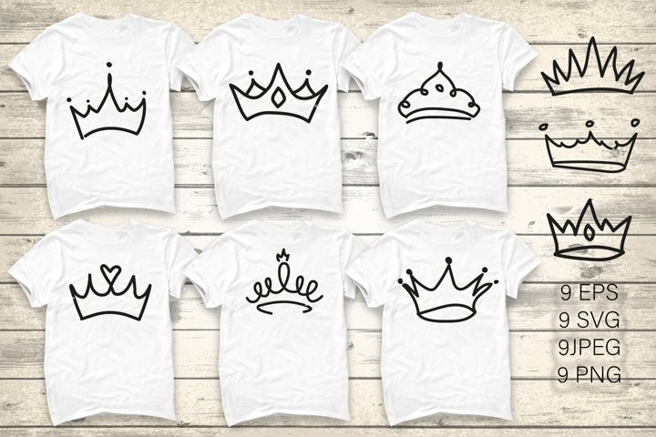 Crown doodles. King majestic imperial monarch elegant symbol