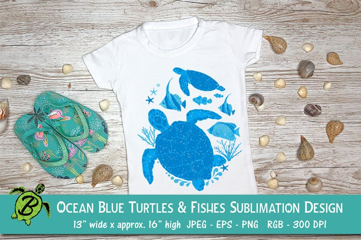 Sublimation Design for T Shirts | Blue Turtles and Fishes