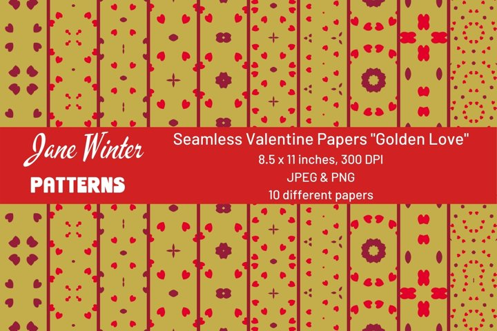 Seamless Valentine Papers Golden Love