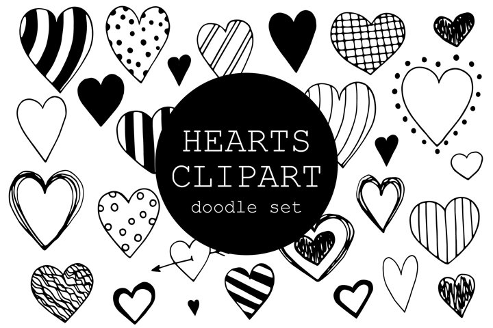 Doodle Hearts Clipart Set - 27 hand drawn elements