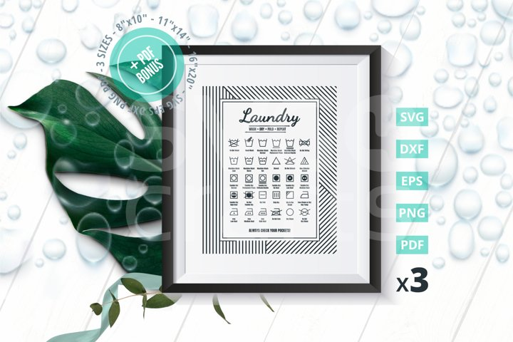 Laundry Guide to Procedures SVG Cut File, Bonus 3 sizes &PDF