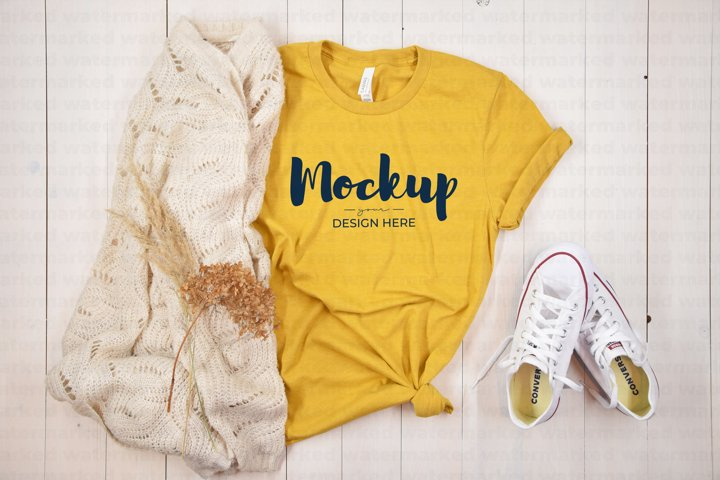 Yellow T-Shirt Mockup, Casual Shirt, BC 3100, Flat Lay