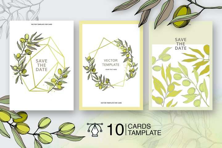 Olives vector EPS watercolor set   example 1