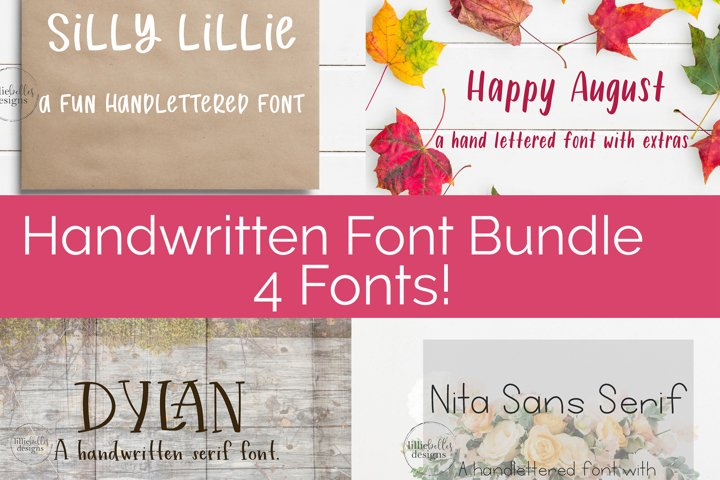 Handwritten Print Fonts bundle