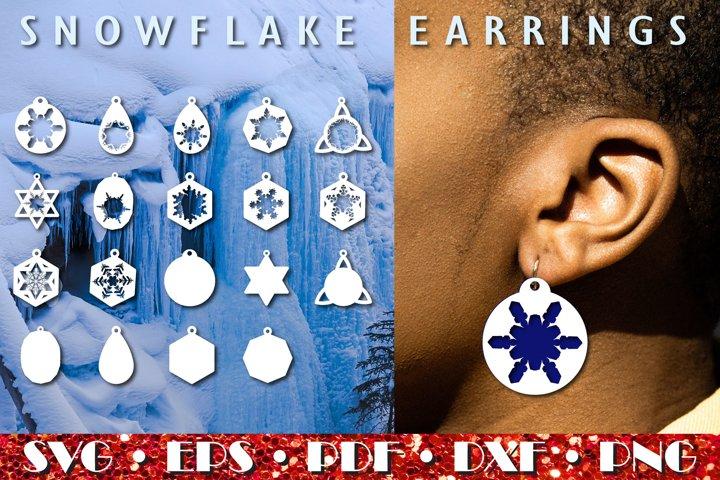 Snowflake Earrings, Christmas ornament SVG