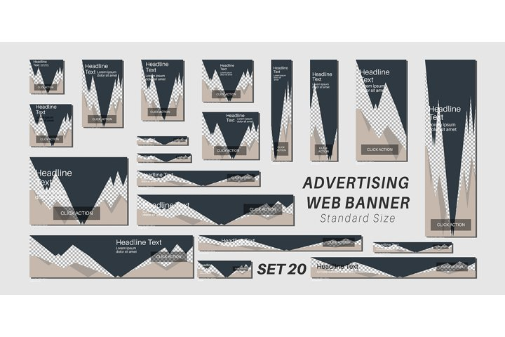 Vector set advertising web banner template design. triangle