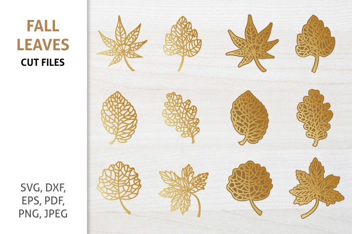 Gold Leaves Cut Files, Fall Autumn SVG Bundle