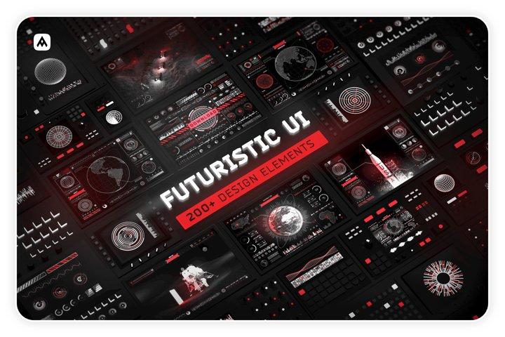 Futuristic UI Kit 200 design elements