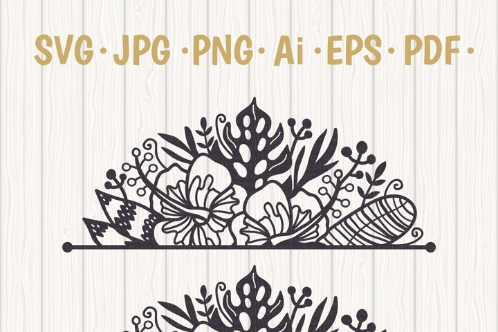 Tropical Border SVG, Luau Decor SVG File, Wedding Flowers example 5