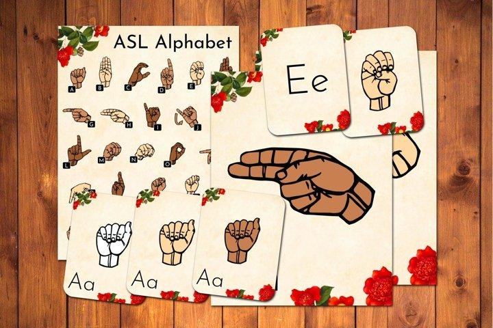 ASL Alphabet Flashcards Bundle Red Floral American Sign