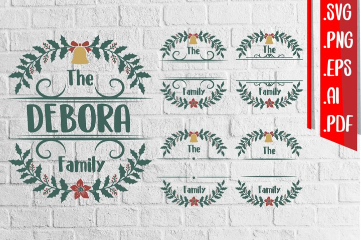 Christmas Family Floral Monogram