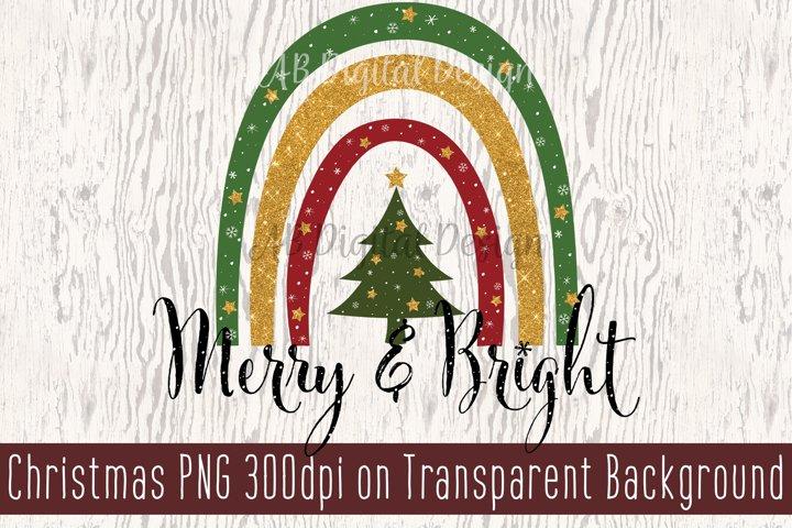 Christmas Sublimation Design PNG, Christmas Rainbow, Clipart
