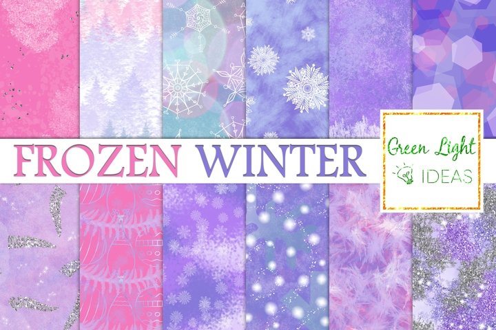 Frozen Winter Digital Papers, Snowflakes Textures, Ice Paper