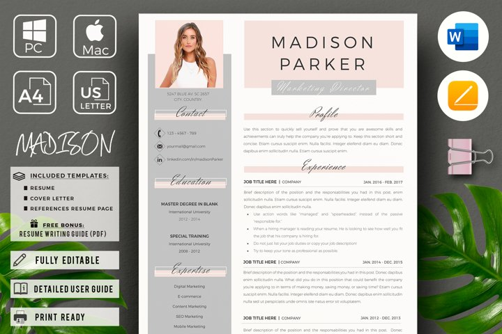 Creative Marketing Resume CV, Template & Cover Letter