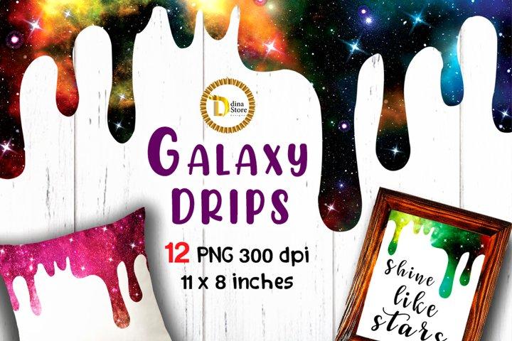 Sublimation Cliparts 12 Galaxy Shiny Drips Bundle