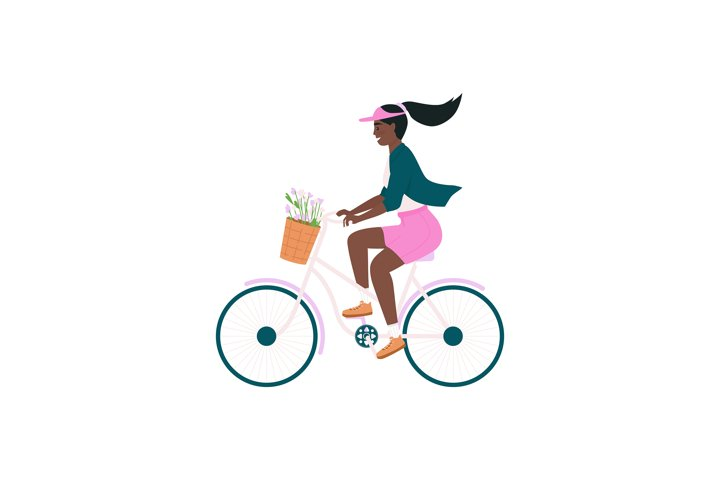 African american woman in bicycle color vector character
