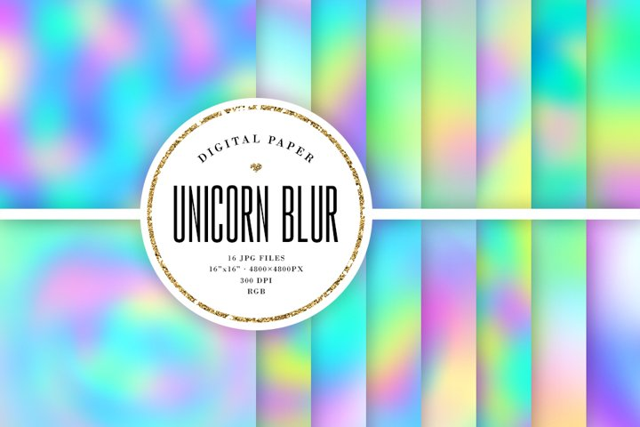 Unicorn Blur Backgrounds - Abstract Digital Paper