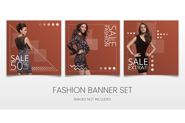 three modern, elegant sale banners for social media