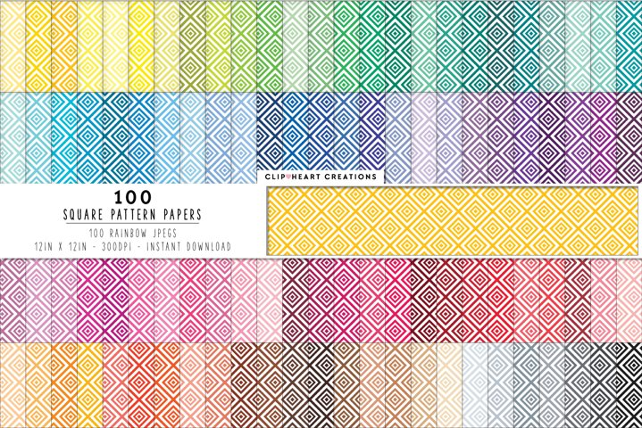 100 Squares Pattern Digital Papers - rainbow colors