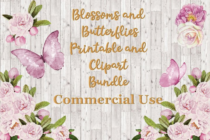 Blossoms and Butterflies Floral Clipart and Printables