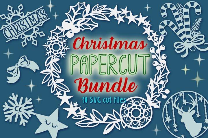Christmas Papercut Bundle - 10 SVG cut files