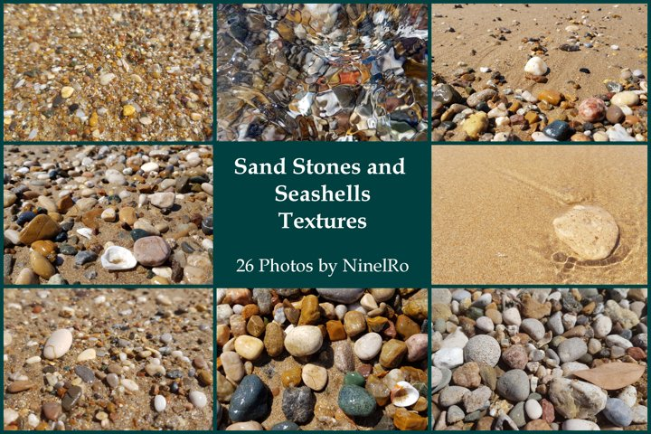 Set of 26 Summer Beach Photo Texture of Sea Stones on Sand