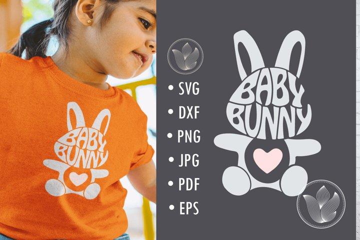 Baby bunny svg cut file, bunny rabbit shape, lettering