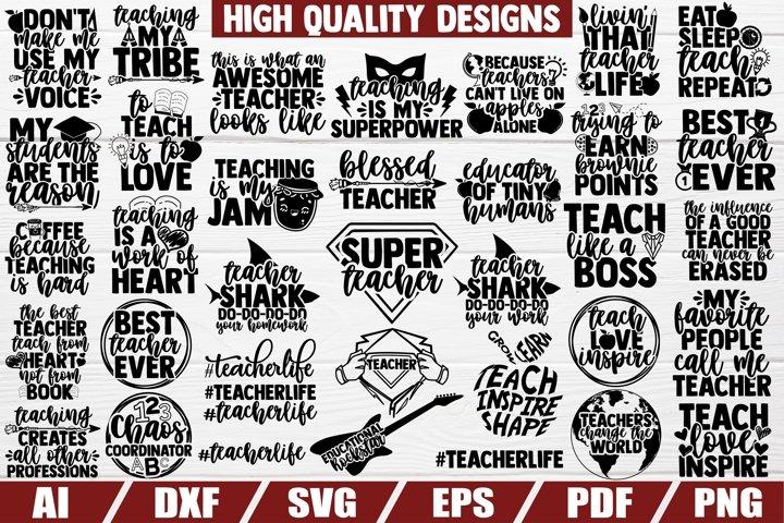 Teacher Bundle SVG - 34 designs - CUT FILE - DXF FILE - EPS